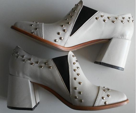 Zapatos Bota Botineta Cuero Tachas Hueso Abryl Nuevo Sin Uso
