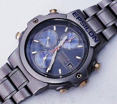 Relógio Seiko Epsilon Titanium Azul Maravilhoso Vintage