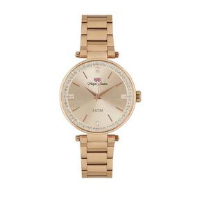 Relógio Feminino Analógico Rose Gold E Cristais Pl81003113f