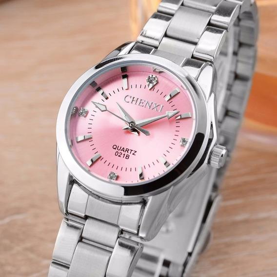 Relógio Feminino Pequeno Prata Aço Inox Strass Com Caixa