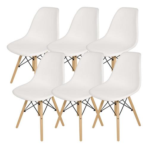 Imagen 1 de 6 de Sillas X 6 Comedor Plastico Patas De Madera Diseño Eames Dsw