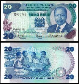 Quênia 20 Shillings 1981 P. 21a Fe Cédula - Tchequito