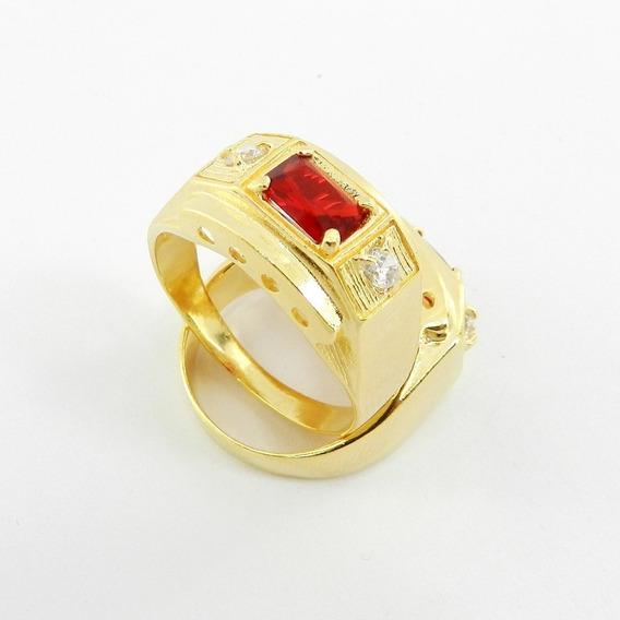 Anel Masculino Aro 28 Vermelho Folheado Ouro An170