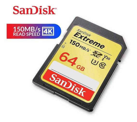 Sandisk Cartão De Memória Extreme Sd Cartão Para Câmera 64gb