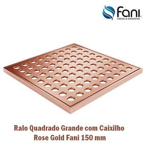 Ralo / Grelha Quadrada Latão Com Caixilho Rose Gold 150 Mm