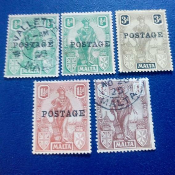 Selo Postal Antigo Malta Postage Revenue Lote 5 Selos