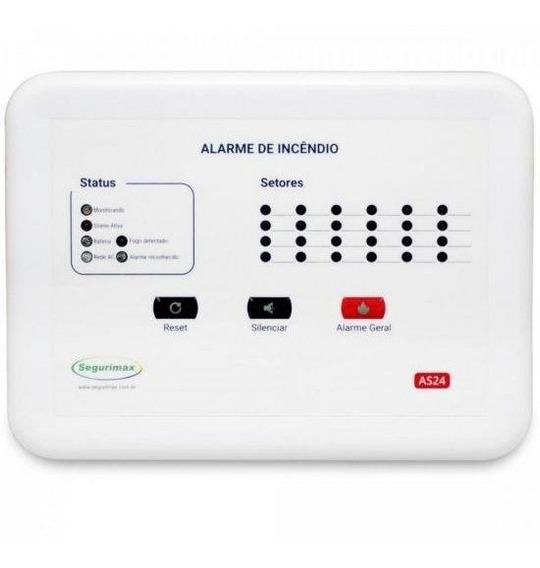 Central De Alarme De Incêndio 24 Setores 12v C/ Bateria Segu