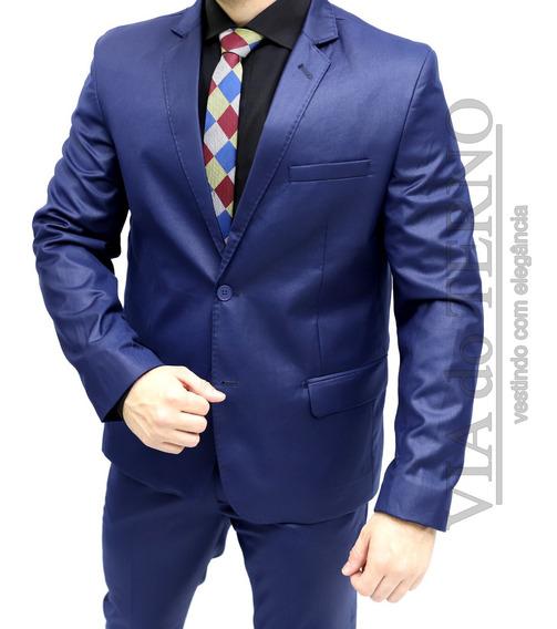 Terno Azul Slim Poliviscose Italiano Premium + Calça Social