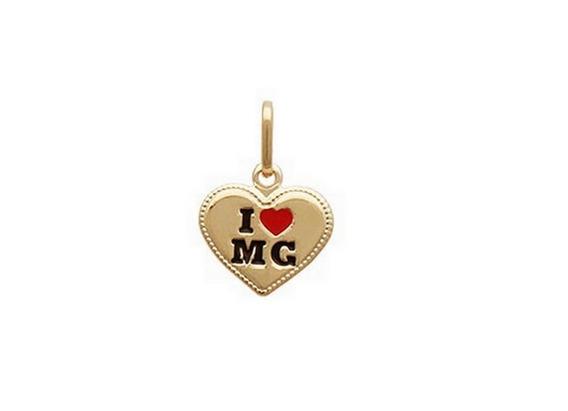 Pingente I Love Mg Minas Gerais Ouro 18 K Com Garantia