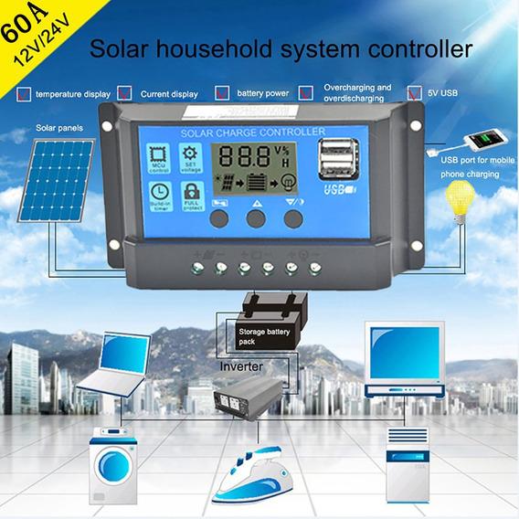 Controlador De Carga Regulador De Painel Solar Usb 60a 12v-2