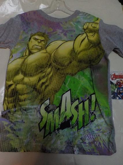 Playera Hulk Talla 6 Niño Color Gris