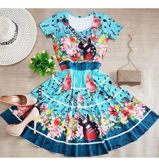 Vestido Rodado Midi Floral Lady Lake Moda Gospel