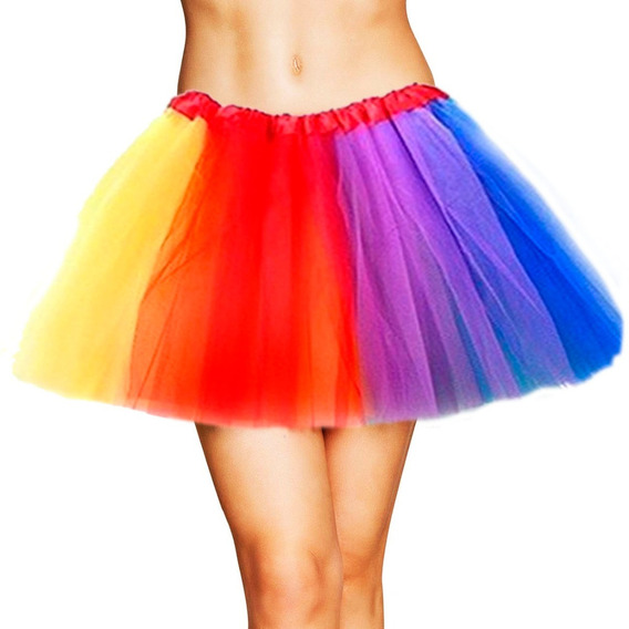 Tutu Multicolor Arcoiris Adulto Grande Falda Ballet Lgbt Mnr