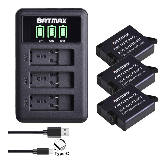 Carregador Duplo +3x Bateria Gopro Hero 5 6 7 Black Batmax