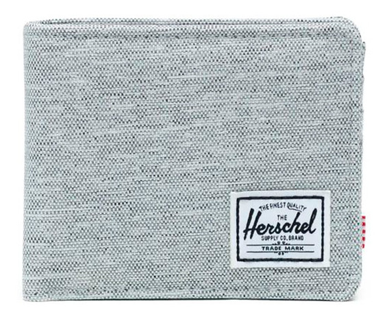 Billetera Herschel Roy light grey crosshatch poliéster 600d