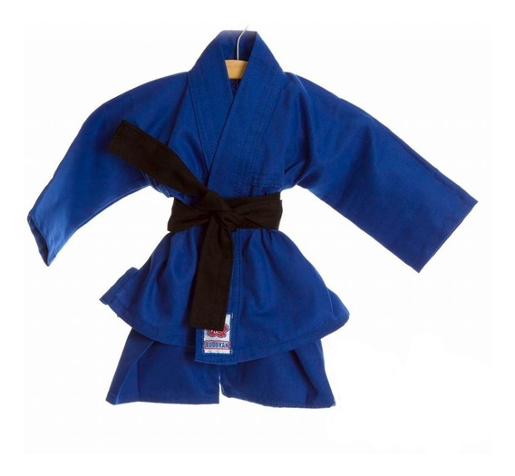 Kimono Azul Com Faixa Preta Recém Nascido E Bebê