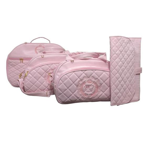 Kit Bolsa Maternidade Bebê Personalizada C/ Mala 4pcs Rosa