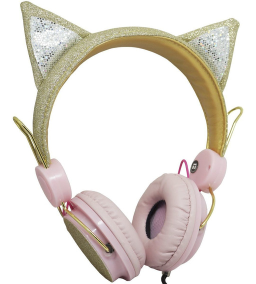 Fone Ouvido Headphone Infantil C/ Fio Orelha Gatinho Glitter