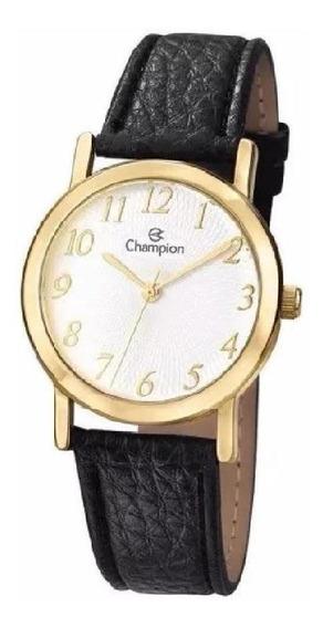 Relógio Feminino Dourado Couro Champion Ch24642m
