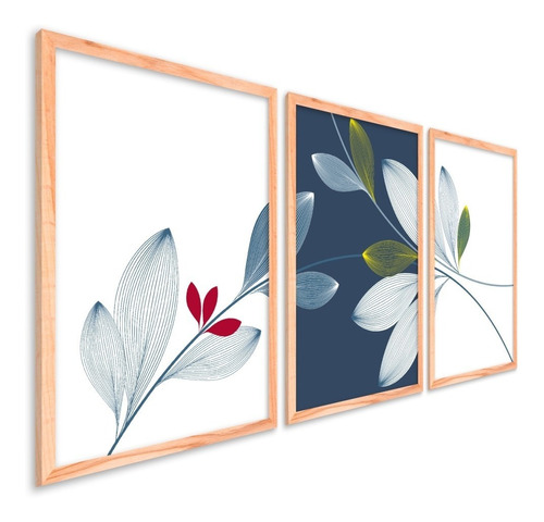 Quadros Decorativos Sala Quarto Moldura Floral Folha Flores