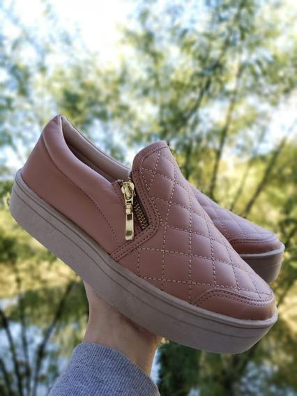 Tênis Slip On Feminino Ff Shoes De Couro