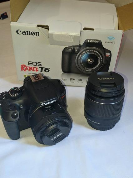 Canon T6 + Lente 18-55mm + Lente 50mm