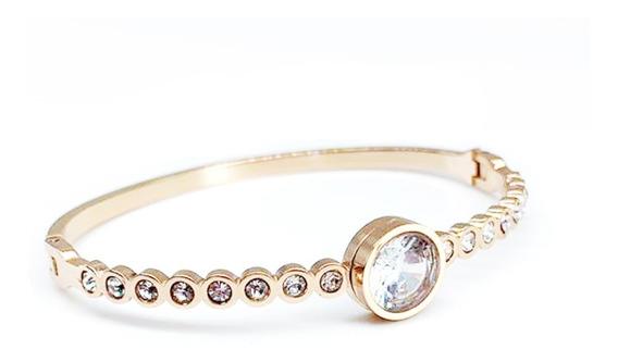 Pulseira Bracelete Feminina Banhada A Ouro Com Strass