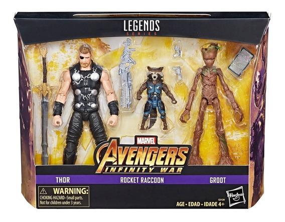 Pack 3 Avengers Infinity War Thor Raccoon Y Groot Marvel