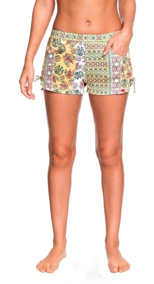 Shorts Mujer Detalle Cordones Costados Amarillo Estamp Roxy