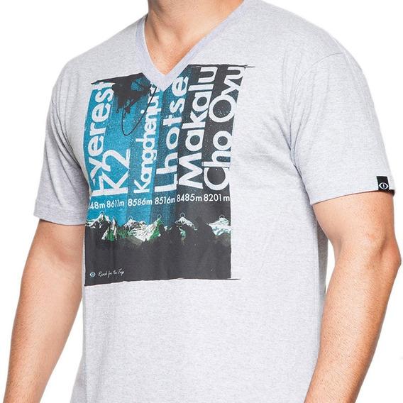 Camiseta De Algodão Reach The Top Cinza