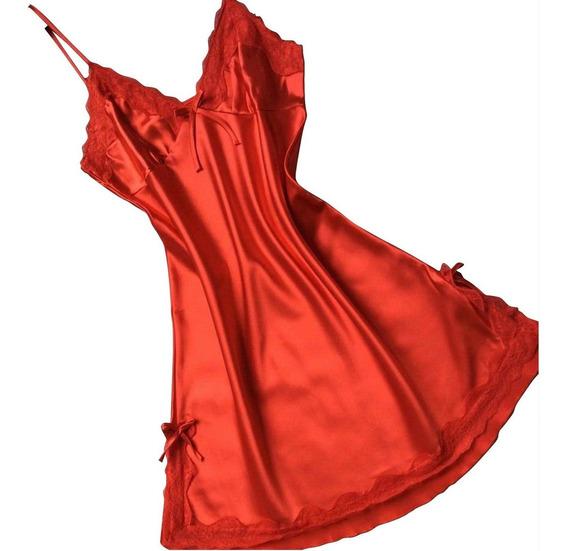 Baby Doll Mini Vestido Camison Encaje Rojo Sexy Unitalla Env