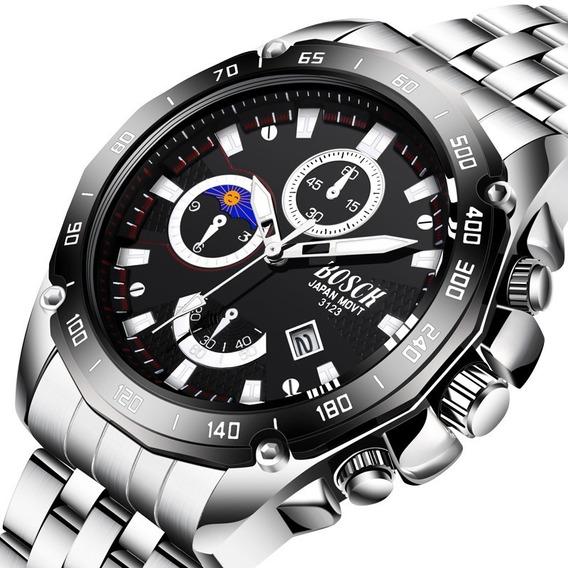 Relógio Masculino Prateado Fundo Preto Social Luxo Esportivo