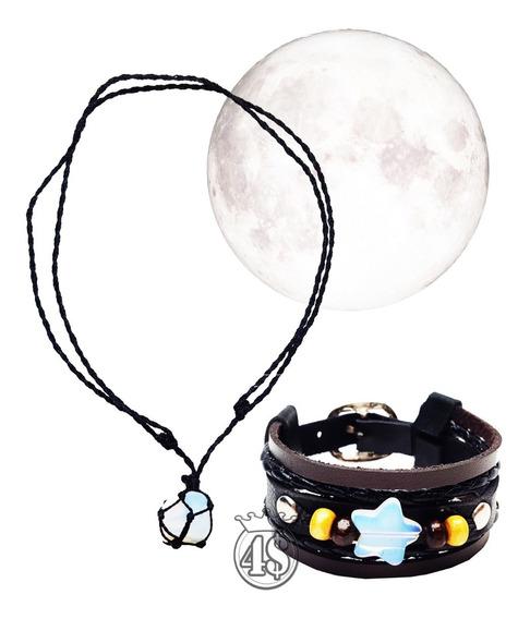 Colar Pedra Da Lua Com Fio Preto Opalina + Pulseira Couro