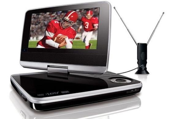 Dvd Portatil Auto Pantalla Grande 9.8 Hd Usb Juegos Tv Radio Kit Auto 12v 220v Inalambrico Bateria + 300 Video Juegos