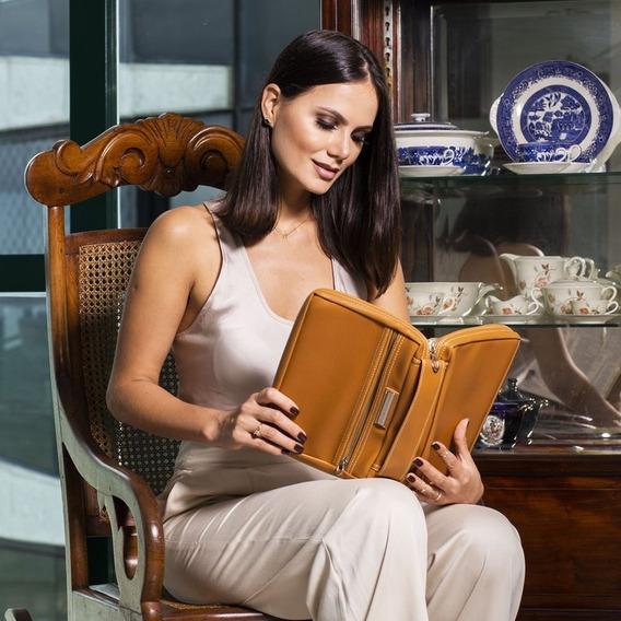 Capa Para Bíblia Couro Caramelo Com Alça E Bolso Com Zíper