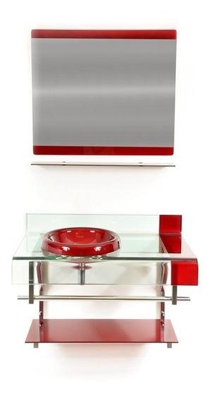 Espelheira Do Gabinete De Vidro 70cm Vinho