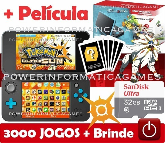 Nintendo New 2ds Xl + 3000 Jogos + 32gb + Roda 3ds + Fonte