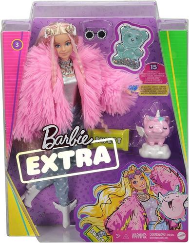 Imagen 1 de 9 de Barbie Extra Doll Con Abrigo Rosado Mascota Unicornio Mattel