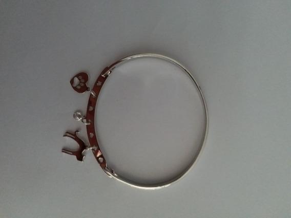 Bracelete Feminino Rodio Branco C/pingentes Frete Gratis