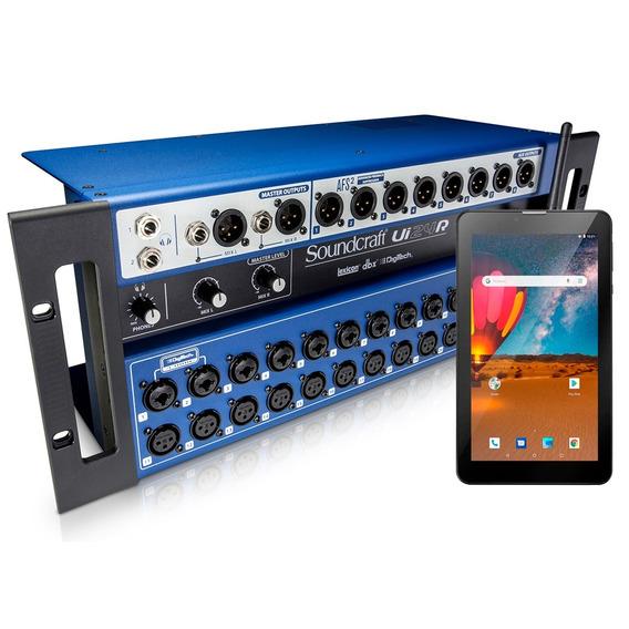 Mesa De Som Digital Ui 24r Soundcraft + Tablet