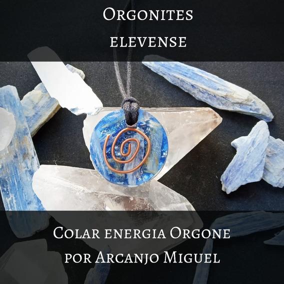 Colar Orgonite Arcanjo São Miguel Cianita Azul