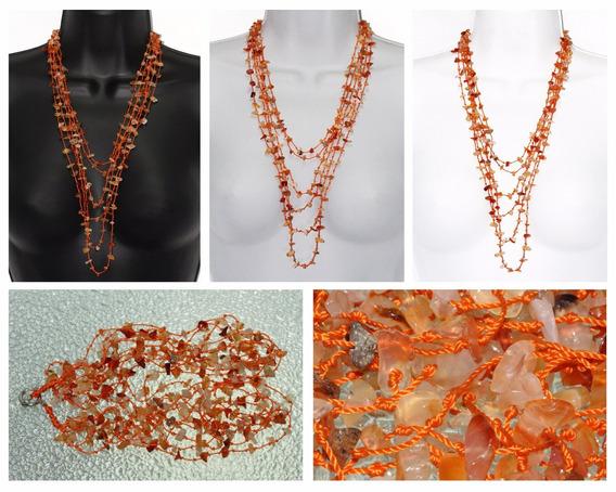 Collar Piedra Natural Dama Joyería Agata Naranja Ccpn256
