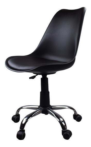 Cadeira Giratória Em Abs Preta Com Design Eames Dkr Office