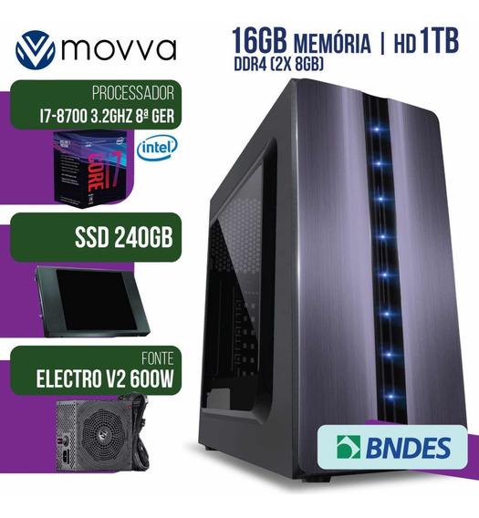 Computador Gamer Mvx7 Intel I7 8700+16gb+ssd 240gb+ 1tb Hd