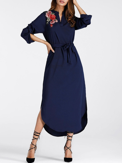 Vestido Larga Bordado Elegante Azul Para Fiesta Moderna