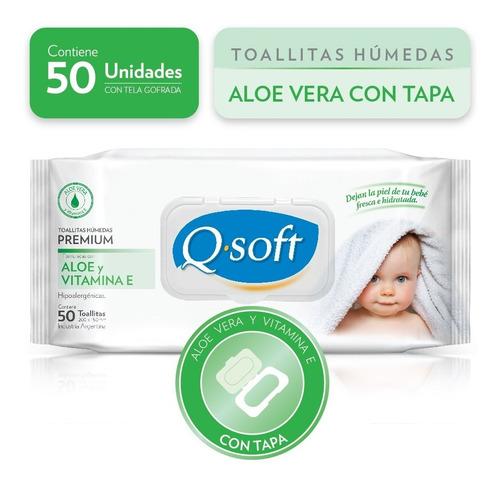Imagen 1 de 4 de Toallas Húmedas Premium Q-soft Aloe Con Tapa (16 Paquetes)