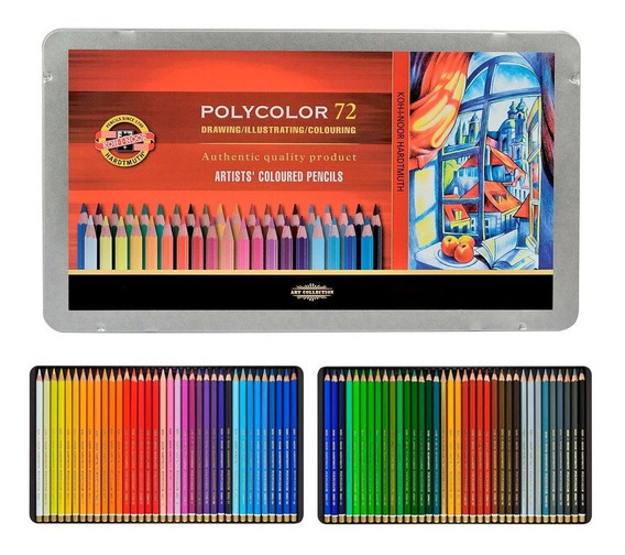 Lápis De Cor Profissional Koh I Noor Polycolor Cj72 Cx Metal