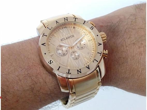 Relógio Original Atlantis Masculino Dourado +brinde Especial