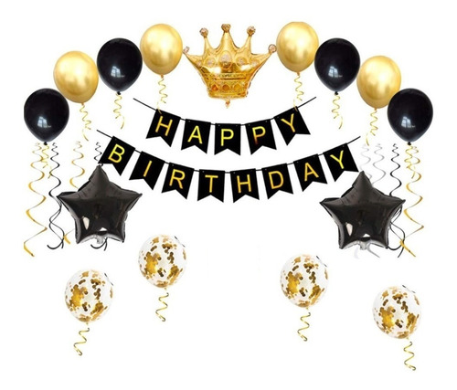 Globo Metalizado Corona Kit Decoración Cumpleaños Dorado Neg