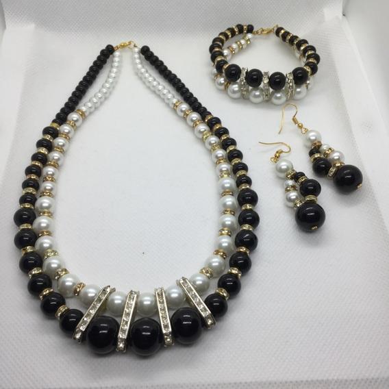 Set Collar Pulsera Aretes Perlas